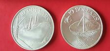 SINGAPORE 1975 & 1978 $10 SILVER COINS.31.1gr.  40mm EACH. UNC IN ORIG COVERS.