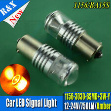 1x AMBER 1156 BA15S P21W COB 3030 750LM LED CANBUS REVERSE LIGHT BULB HIGH POWER