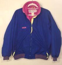 Women's Vintage Columbia Blue Neon Pink Yellow Ski Snow Jacket L EUC