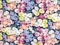 Daisey Bed Navy Cath Kidston Cotton Duck Fabric 1 M x 144cm