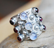 Handarbeit Silberring Mondstein Granat Rot 55 Ring Silber Bandring Verspielt