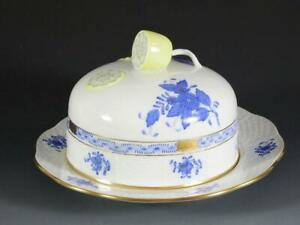 Herend Chinese Bouquet Blue Round Covered Butter Dish 391/AB- Mint Condition!