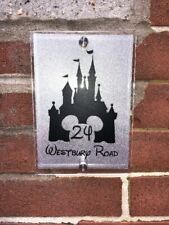 Personalised Disney House Number - Castle House Number Sign in Silver Glitter