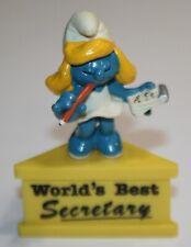 Smurf-A-Gram Smurf On Stand WORLD'S BEST SECRETARY Smurfette SCHLEIGH PEYO