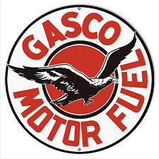 "Gasco Motor Oil Reproduction Sign 18""x18""  Round"