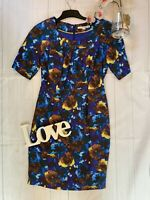 Boden Size 10 blue silk mix floral party occasion 1/2 sleeve dress fitted VGC