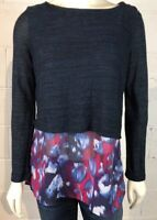 Poeme By Citron Sweater Knit Top Shirt Size M Purple Blue Artsy Made in the USA