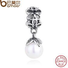 Retro Authentic S925 Sterling Silver Pearl Pendant Charms Fit European Bracelets