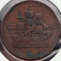 c.1835 - Prince Edward Island - Ship / Commerce - ½ Penny - Superfleas -PE-10-28