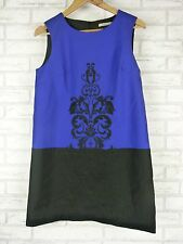 THURLEY BARON MINI Dress Sz 10 Black, Blue Embroidered Evening, Event