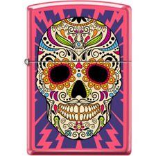 ZIPPO Sugar Skull Neon Pink Lighter Day Of The Dead Lighting Bolts New