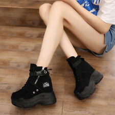 Womens High Top Wedge Sneakers Lace Up Platform Ankle Boots High Heels Creepers