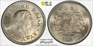 S22 Malaya Sarawak 1927-H 5 Cents PCGS MS-64 Top Pop:2/0 Tied For Finest!