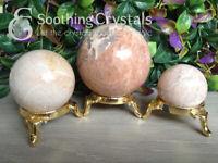 Natural Moonstone Crystal Sphere Round Crystal Ball Healing Sphere Rock Stone