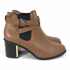 Forever 21 Faux Leather Tan Brown High Heel Ankle Boots Sz 8.5