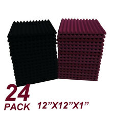 12X12X1 24pcs burgundy/black Acoustic Foam Wedge Studio Soundproofing Wall Tiles