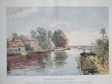 Original Antiquarian c1926 A Heaton Cooper Print - Horning Ferry, Norfolk Broads