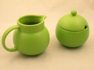 Corelle Coordinates Stoneware Sugar Bowl and Creamer Set Apple Green Thailand