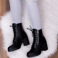 SPYLOVEBUY ROCK IT LACE UP BLOCK HEEL ANKLE BOOTS SHOES