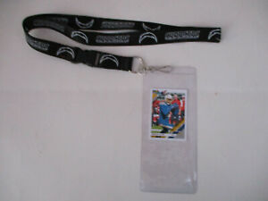 LOS ANGELES CHARGERS BLACK LANYARD WITH TICKET HOLDER & COLLECTIBLE PLAYER CARD