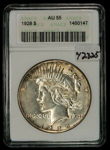 1928 $1 Silver Peace Dollar - Luster - Key Date - ANACS Soap Box AU 55 - Y2325