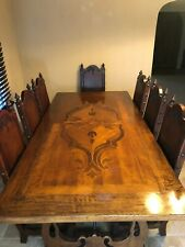 Rustic Mexican Dining Table Chairs Spanish Arte de Mexico Brown Leather