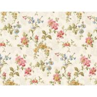 Wallpaper Designer Geranium Multi Floral Wallpaper Yellow Gray Pink Blue Cream