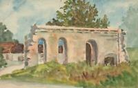 1916 ORIGINAL WATERCOLOUR PAINTING of CHURCH at COIGNEUX FRANCE POSTCARD - USED