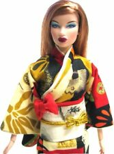 Red Kimono with Asian Motif for FR, FR2, Misaki, Barbie Silktone 12 inch Doll