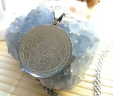 Seal Of The Seven Archangels Solomon Magic Silver Pendant Amulet Necklace Pouch