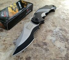 MTech Xtreme Ballistic Black Grey Spring Assisted Tactical Flipper Pocket Knife