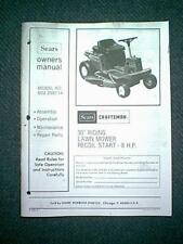 """SEARS CRAFTSMAN 30"""" 8 HP RIDING MOWER MODEL 502.256114 OWNER'S WITH PARTS MANUAL"""