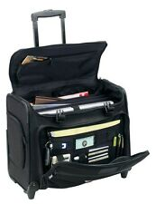 "Rolling 2-Wheels 17"" Laptop Computer Business Organizer Case Bag Black"
