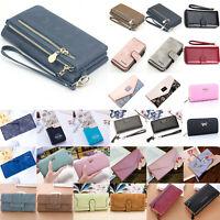 Womens Long Wallet PU Leather Card Money Holder Waterproof Zipper Plain Color