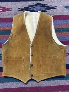 Vintage 50's Levis Big E Short Horn Split Cowhide Sherpa Leather Vest Jacket S