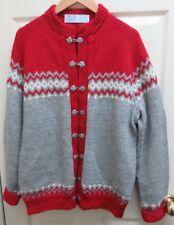 Siril Sweater Shop Nordic Design 100% Wool XL Hand Knit Cardigan Sweater EUC