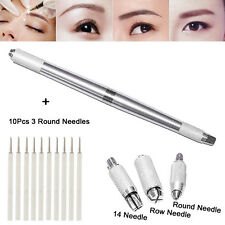 10Pcs 3 Round Needles With Microblading Permanent 3D Eyebrow Manual Tattoo Pen