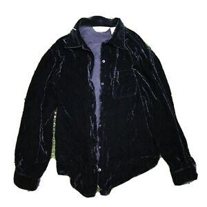 eddie bauer black velvet button down shirt