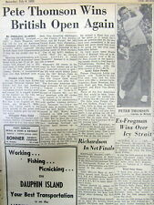 1955 newspaper PETE THOMSON wins BRITISH OPEN GOLF Championship for the 2nd time