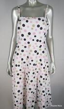JESSICA HOWARD 14 L Cotton Polka Dot Ivory Pink Brown Tan Rockabilly Swing Dress