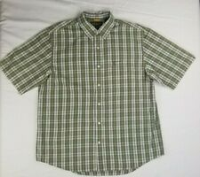 Timberland Men's Green Plaid Short Sleeve Front Pocket Embroidered Logo XL Shirt
