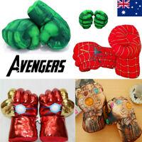 Superhero Gloves Smash Hands Hulk Spiderman Plush Punching Boxing Kids Gifts