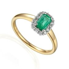 9ct Gold Emerald 0.58ct Diamond 0.19ct Cluster Ring