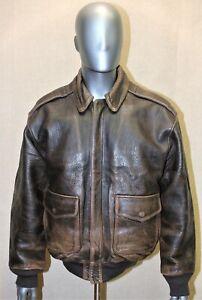 Flight jacket AVIREX A-2 Vintage 80's cuir marron vieilli taille M US L EUR