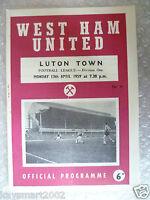 1959 WEST HAM UNITED v LUTON TOWN, 13th April (League Division One)