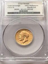 More details for rare :  1923 melbourne gold sovereign.