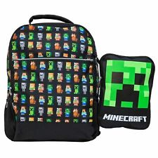 "Minecraft 16"" Kids Backpack & Creeper Lunch Box with 15"" Tablet or Laptop Sleeve"