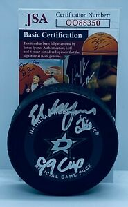 Ed Belfour signed Dallas Stars Official Game Puck autographed W/ 99 Cup Ins. JSA