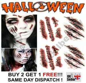 Halloween Zombie Scars Temporary Fake Tattoo Blood Scab Wound Face Make up Scary