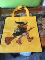 Vintage Halloween Trick Or Treat Bag Witch On Broom Flying Yellow Bag